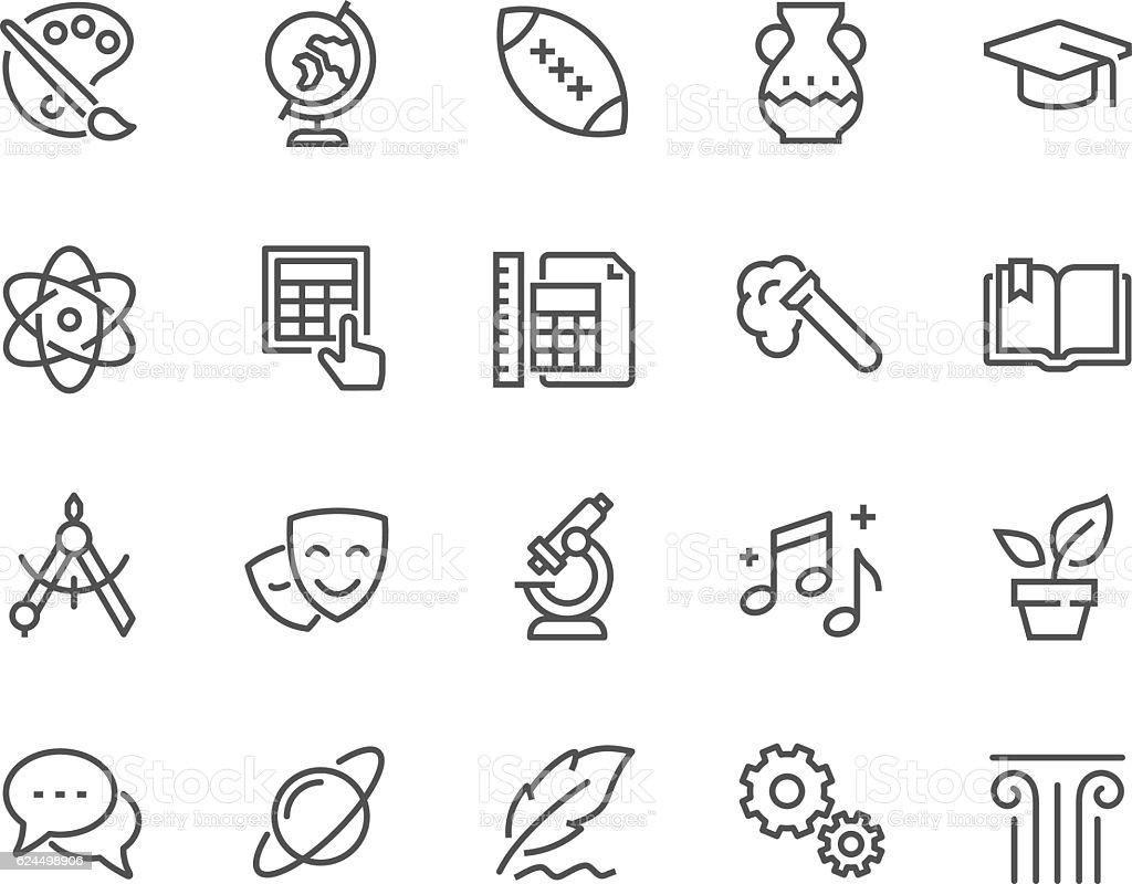 Line School Subjects Icons vector art illustration