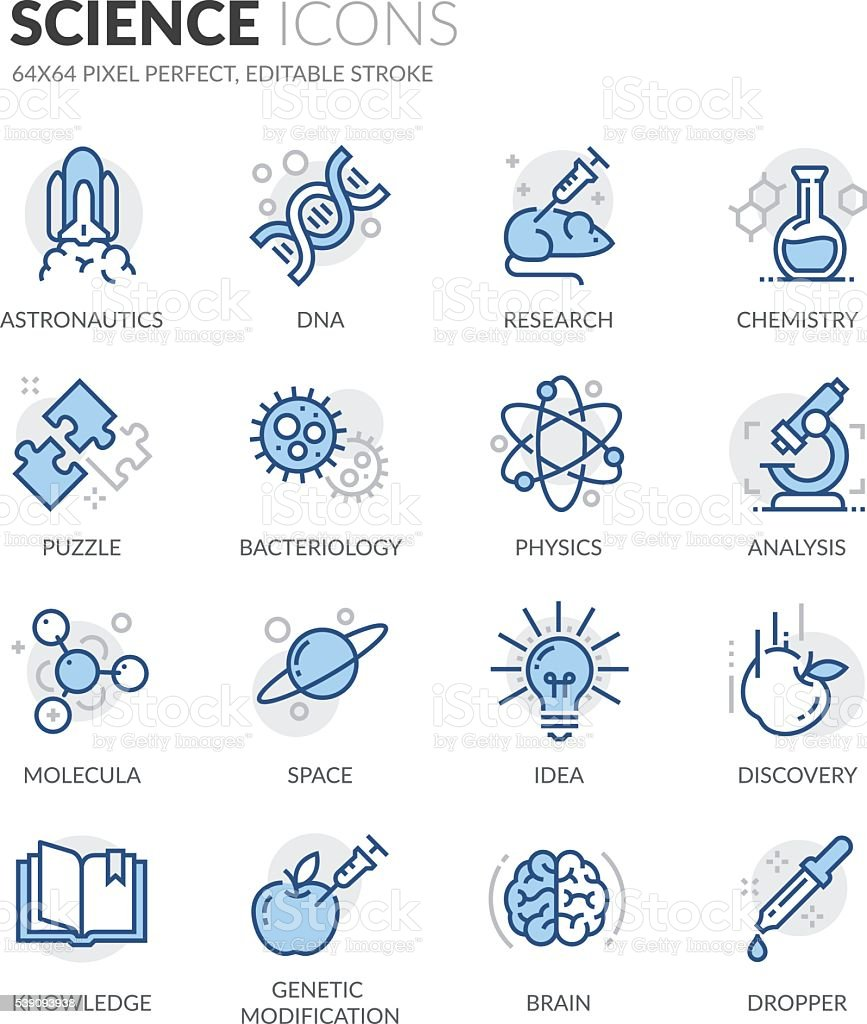Line Science Icons vector art illustration