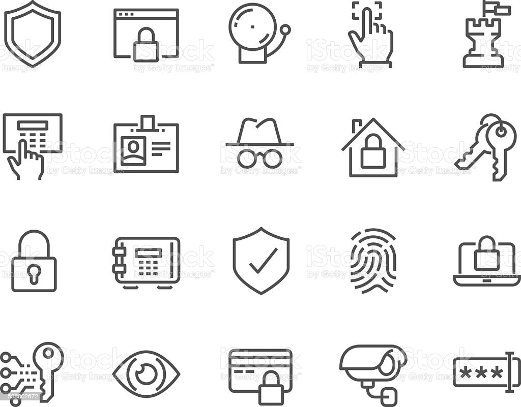 Line Security Icons vector art illustration