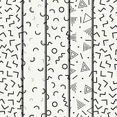 Memphis line shapes seamless patterns set. Fashion 80-90s. Jumble. Zigzag.