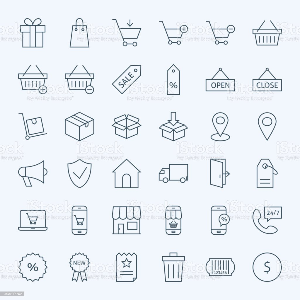 Line Shopping and E-commerce Icons Set vector art illustration