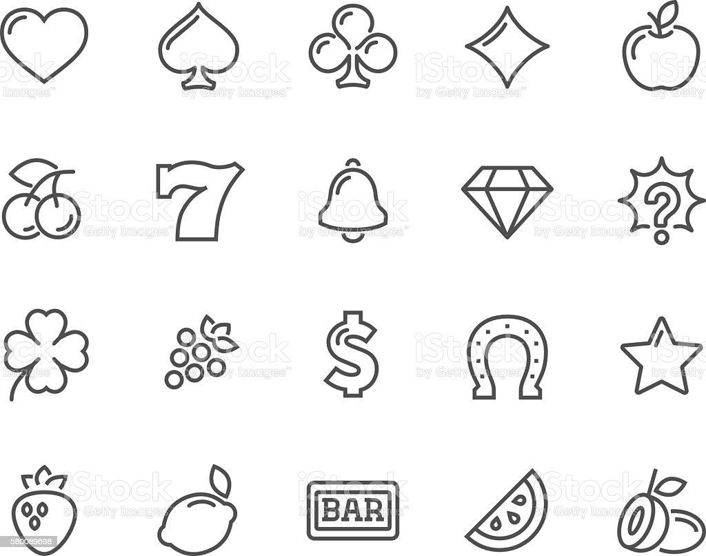 Line Slot Machine Icons vector art illustration