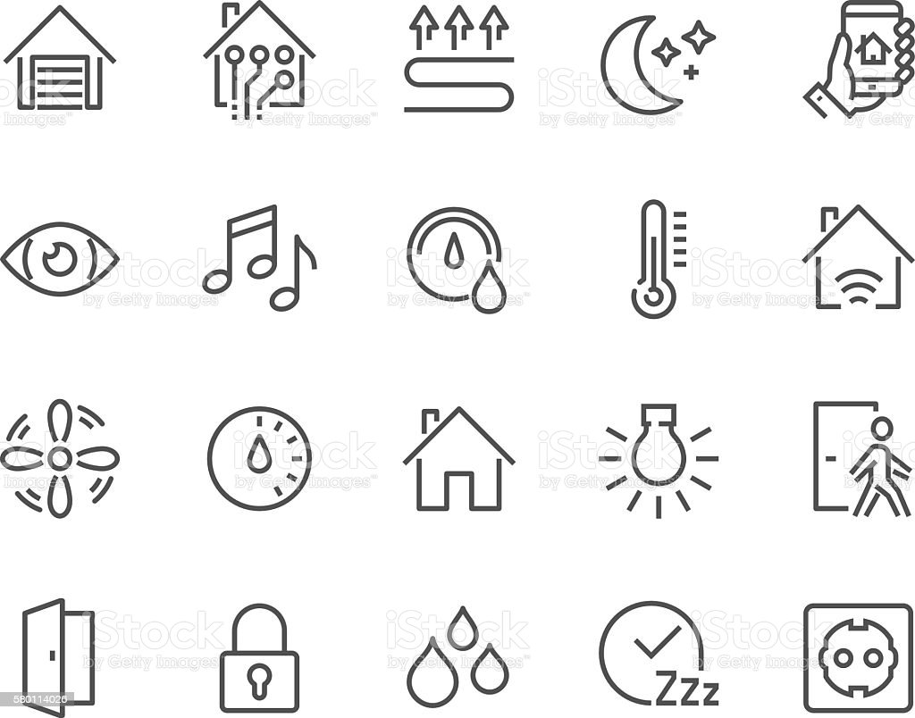 Line Smart House Icons vector art illustration