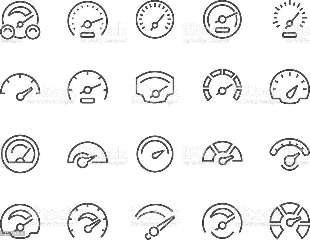 Line Speedometer Icons vector art illustration