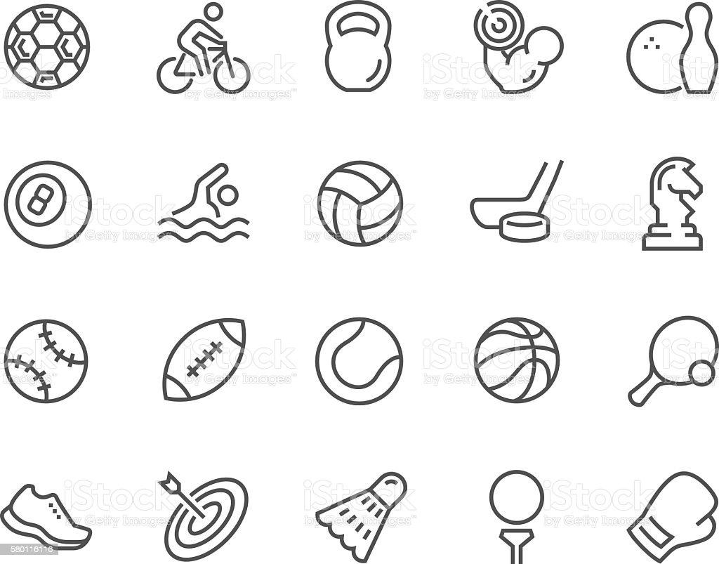 Line Sport Equipment Icons vector art illustration