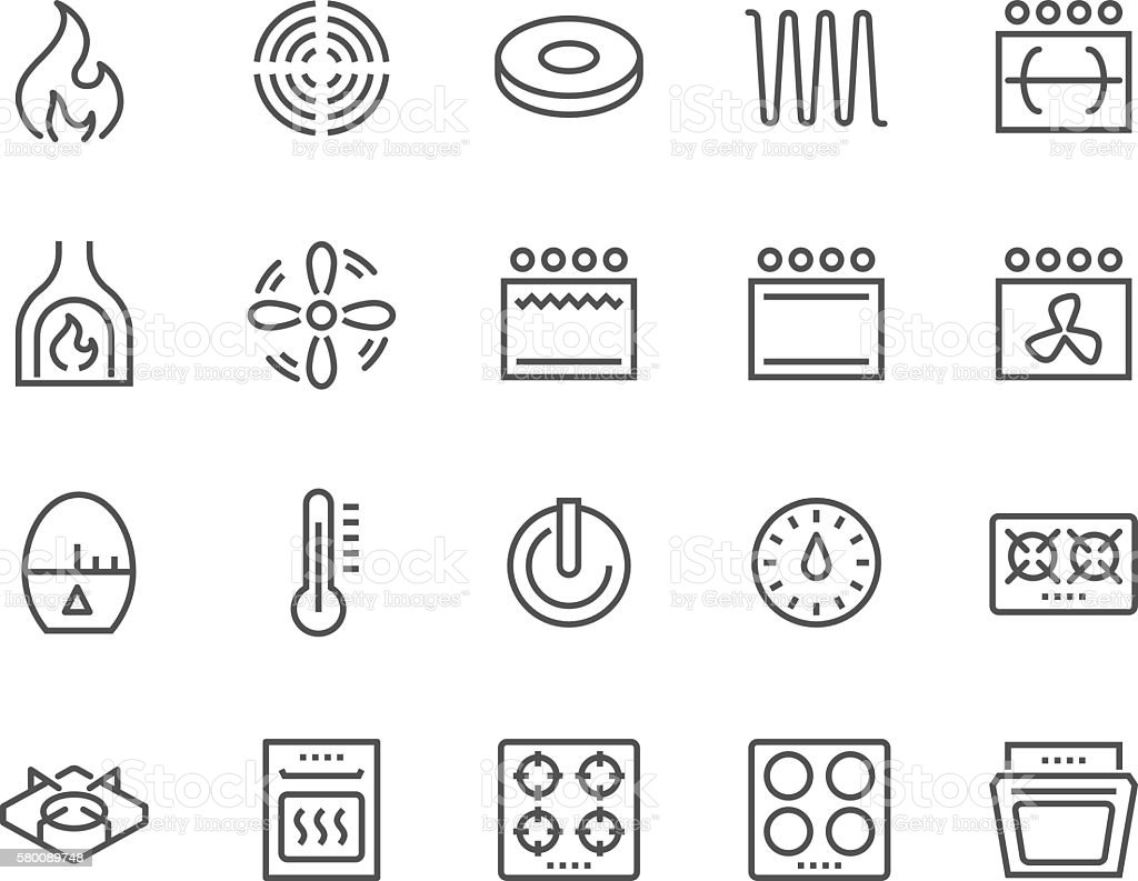 Line Stove Icons vector art illustration