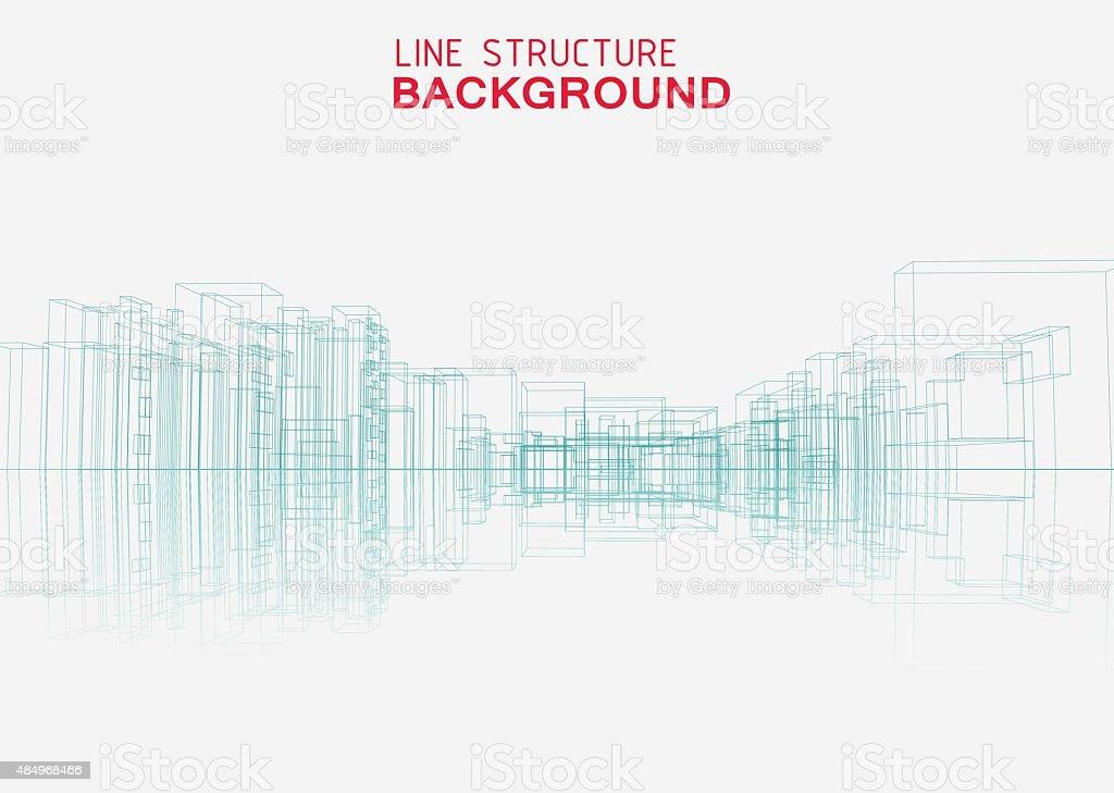 line structure city building background vector art illustration