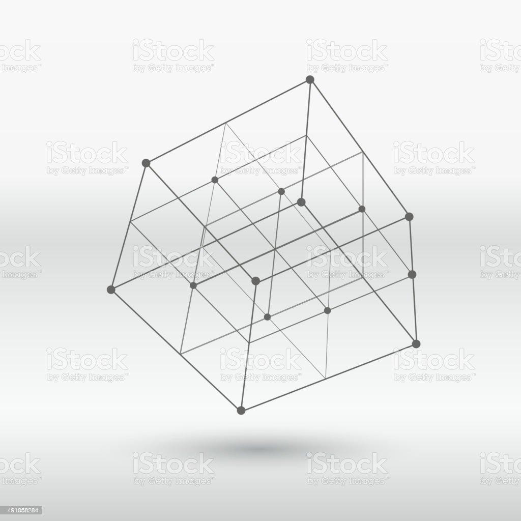 line structure cube vector art illustration
