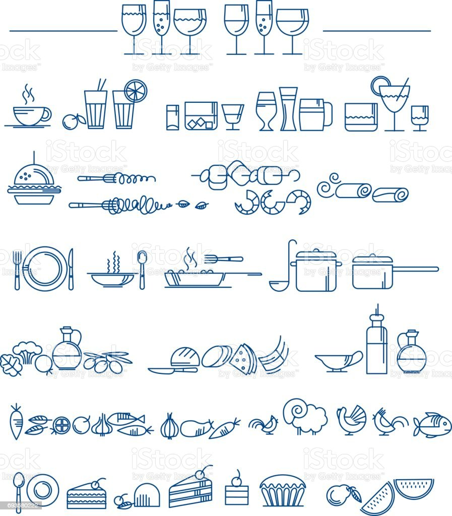 line style icon set. food and dish picto for cafe and reataurant menu. vector illustration vector art illustration