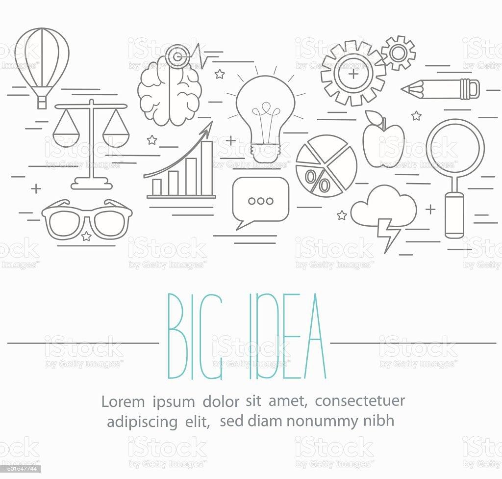Line style vector illustration design concept of big idea, brainstorming. vector art illustration