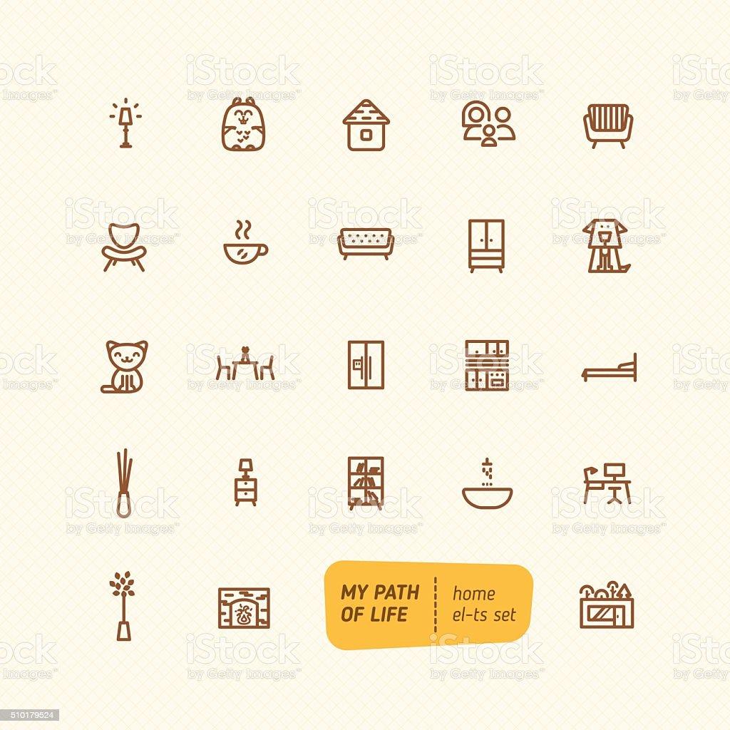 Line sweet home elements set vector art illustration