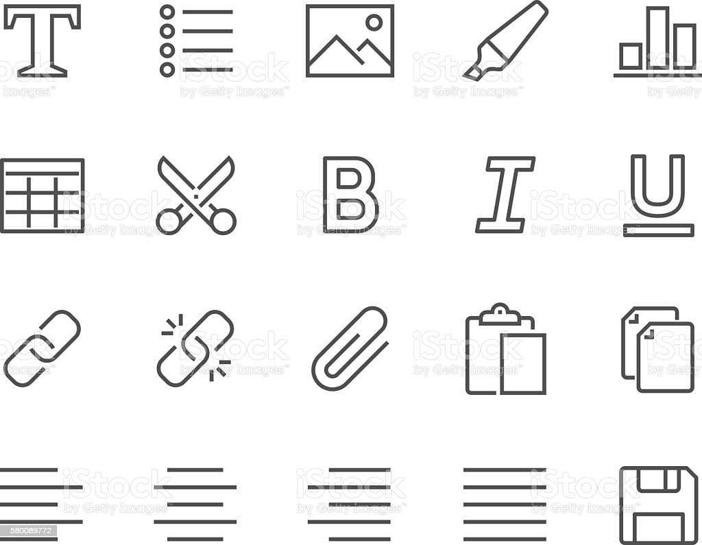 Line Text Editing Icons vector art illustration