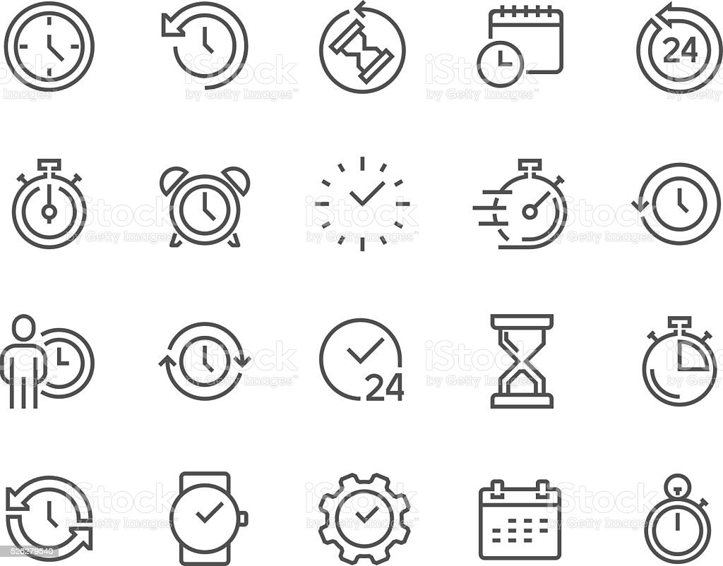 Line Time Icons vector art illustration