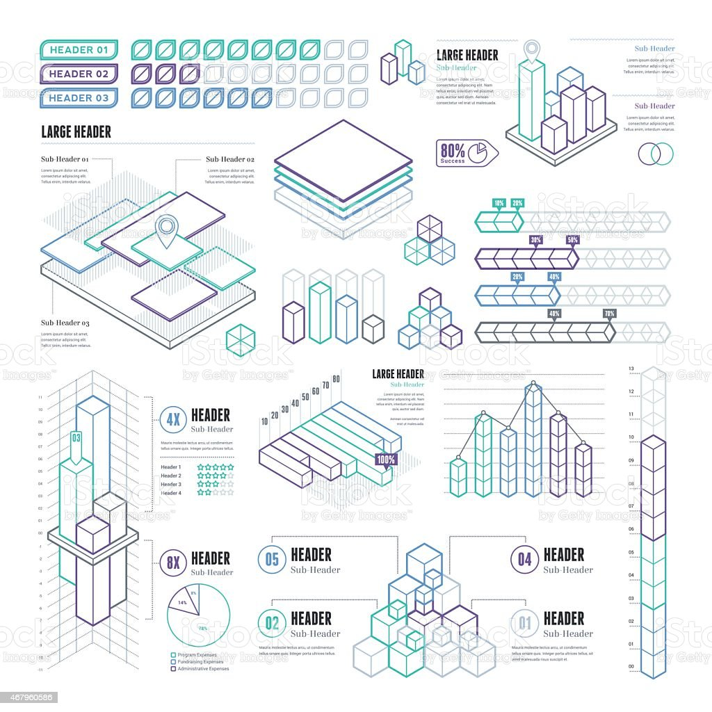 Line UI Infographic Elements - Rectangular and Cubes vector art illustration