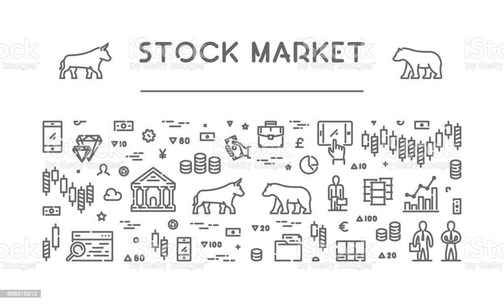 Line vector banner for stock market vector art illustration