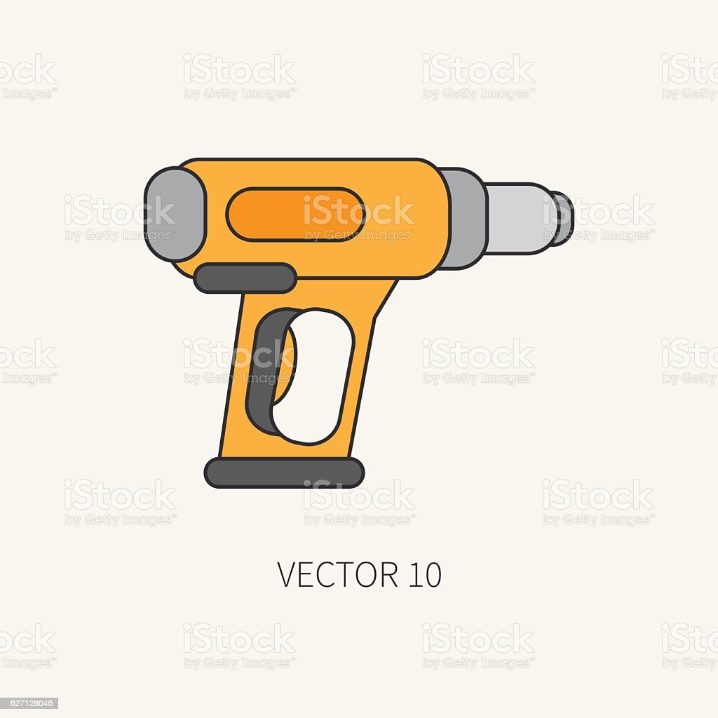 Line vector icon building electrical tool dryer. Construction, work. vector art illustration