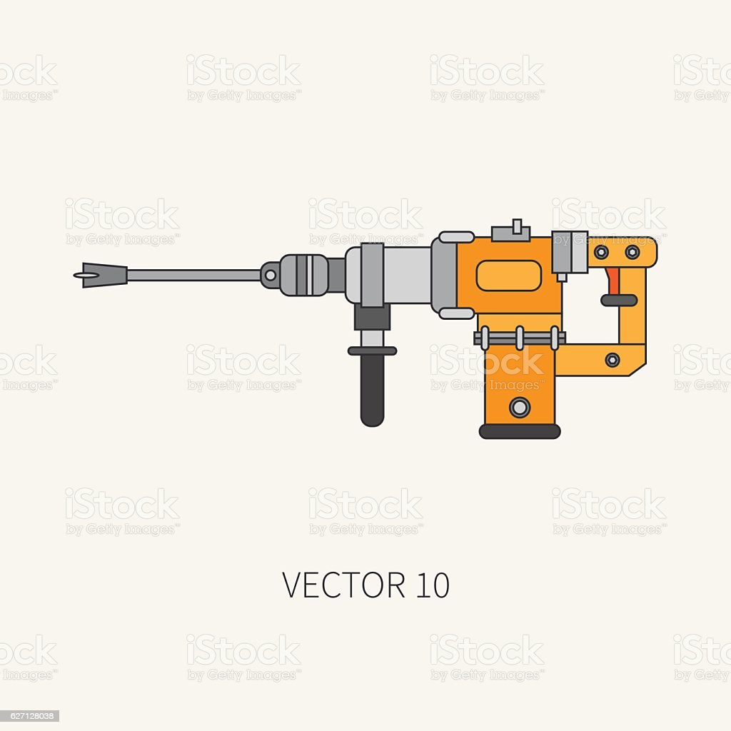 Line vector icon building electrical tool perforator. Construction, work. vector art illustration