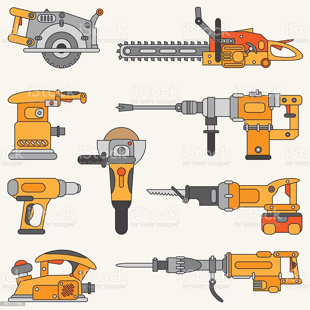 Line vector icon set with building electrical tools. Construction, engineering. vector art illustration