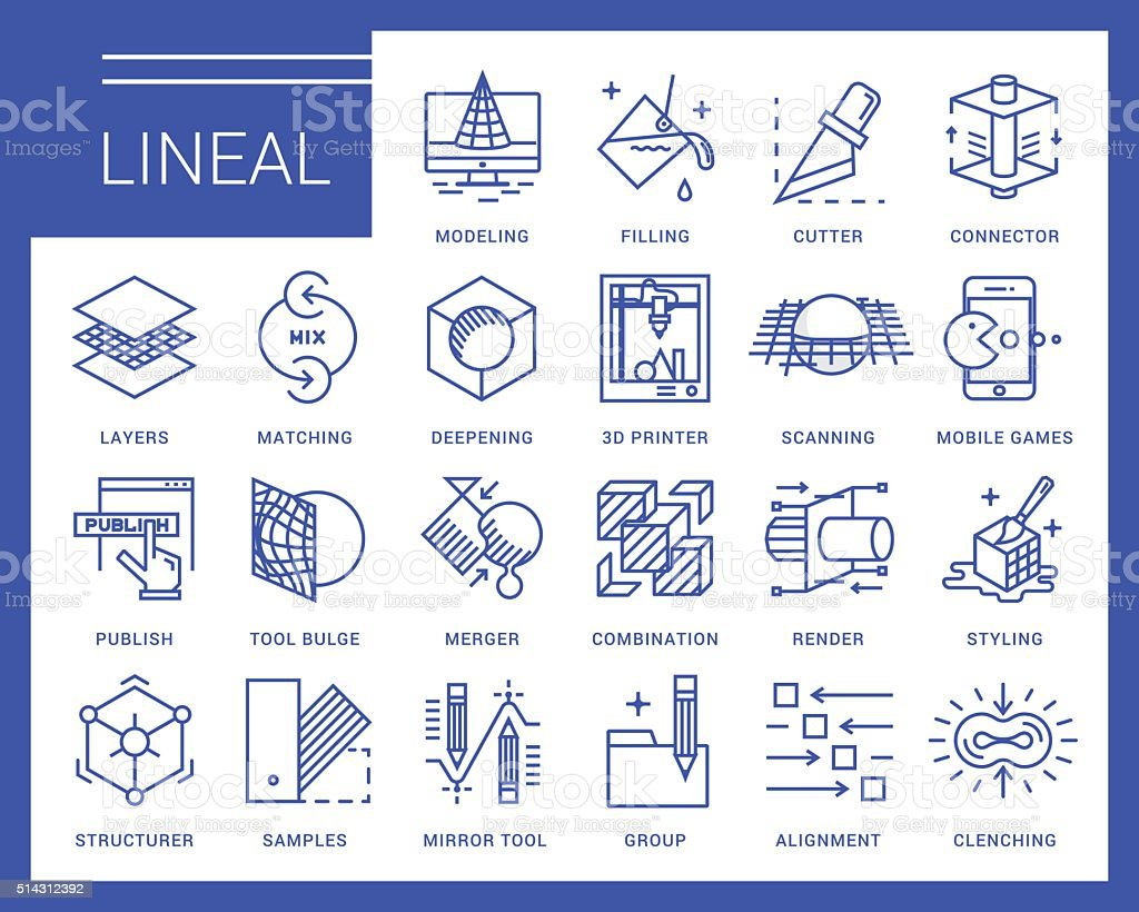 Line vector icons in a modern style vector art illustration