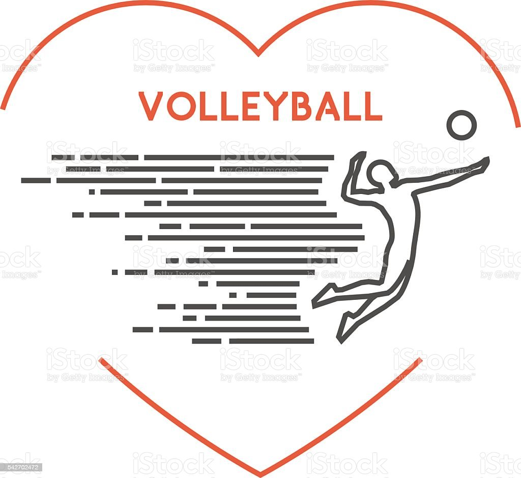 Line vector symbol for volleyball with open path vector art illustration