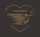 Line vector symbol for volleyball with open path