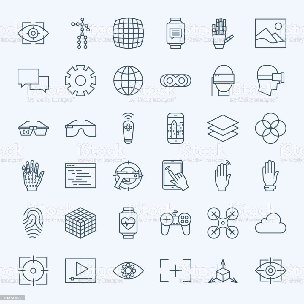 Line Virtual Reality Icons Set vector art illustration