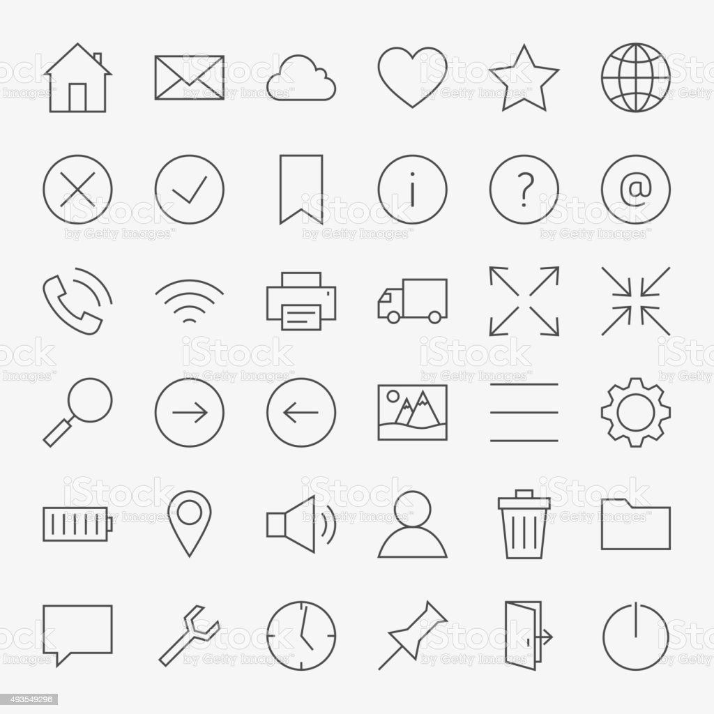 Line Web and User Interface Design Icons Big Set vector art illustration