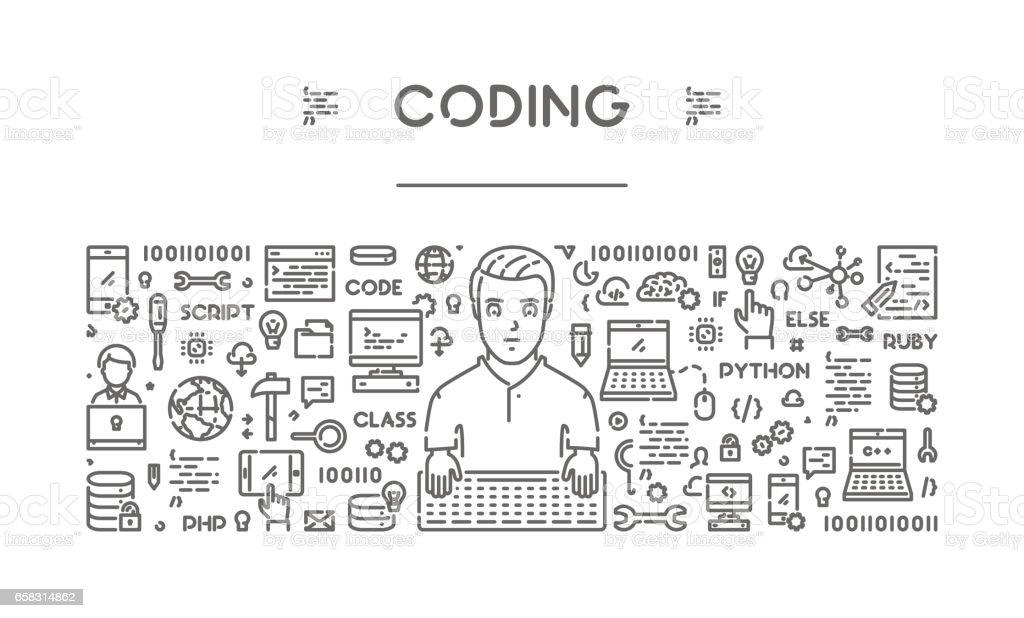 Line web banner for coding and programming vector art illustration