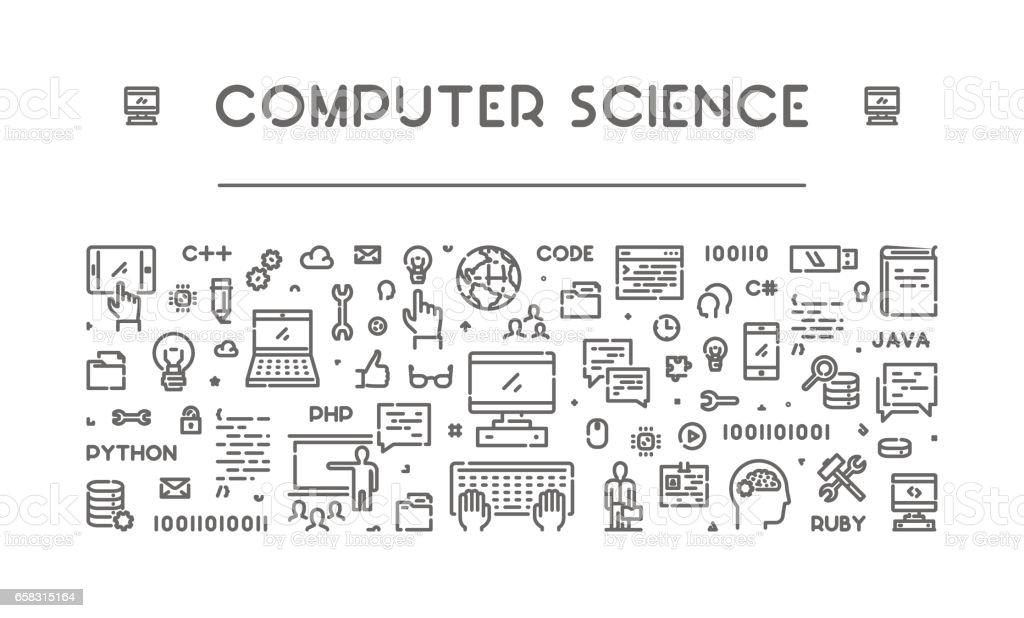 Line web banner for computer science vector art illustration