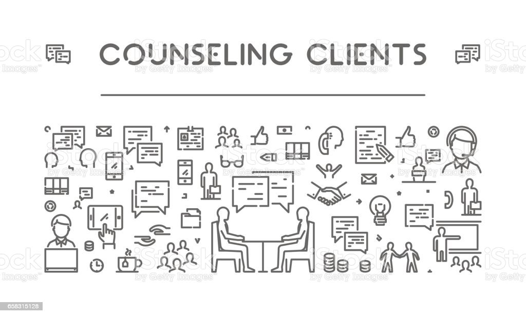 Line web banner for counseling clients vector art illustration