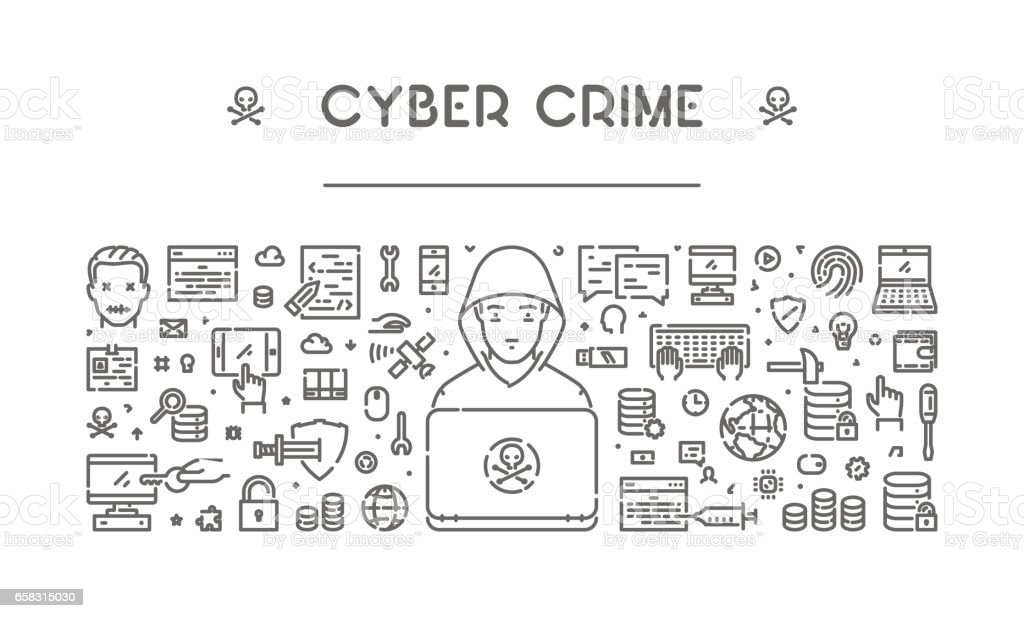 Line web banner for cyber crime and hacking vector art illustration