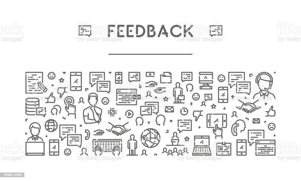 Line web banner for feedback and support vector art illustration
