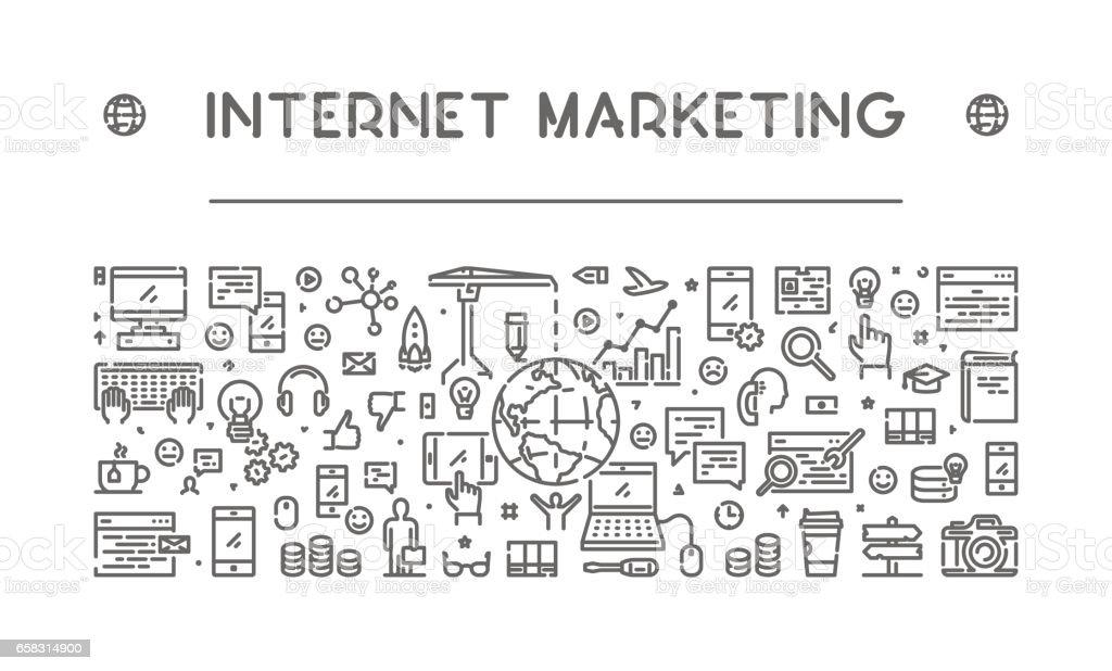 Line web banner for internet marketing vector art illustration