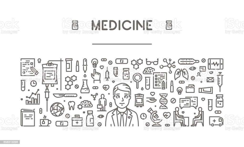 Line web banner for medicine and hospital vector art illustration