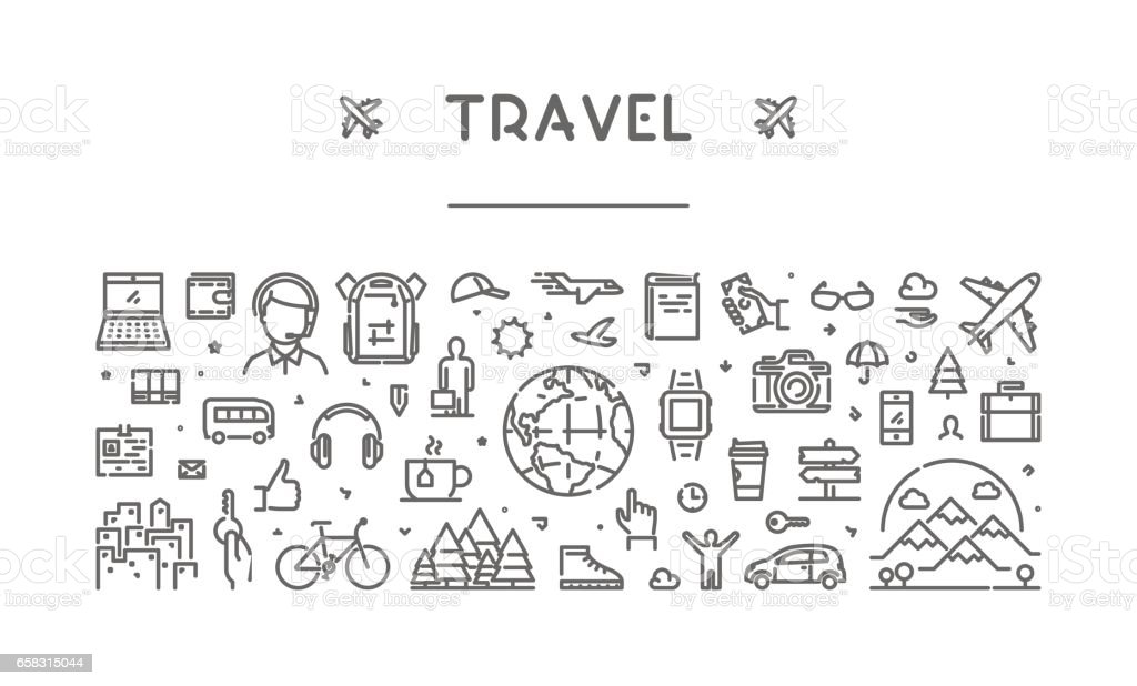 Line web banner for travel and tourism vector art illustration