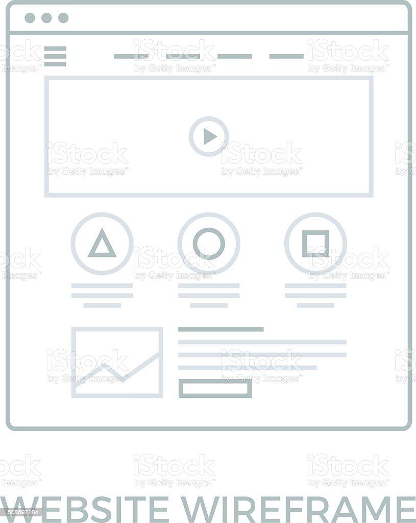 Line Website Wireframe vector art illustration