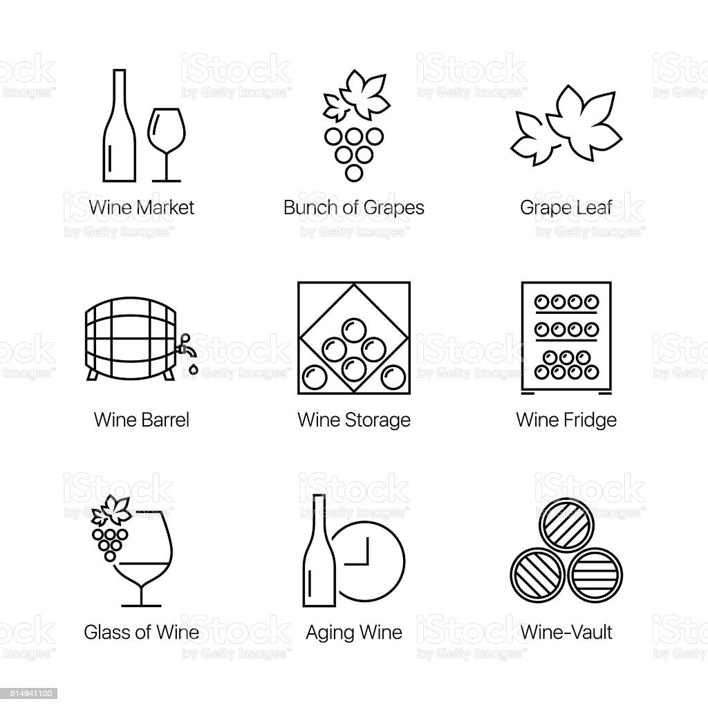 line wine icons set vector art illustration