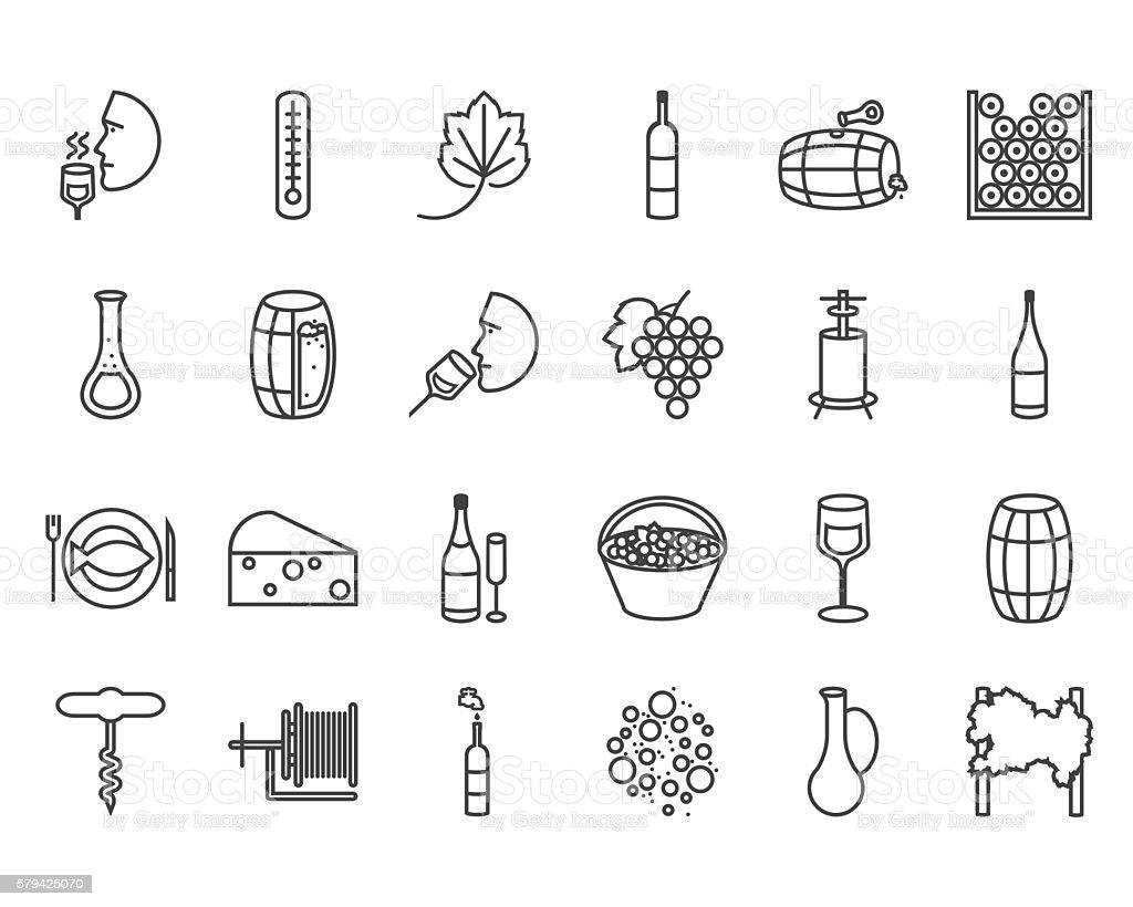 line wine icons vector art illustration