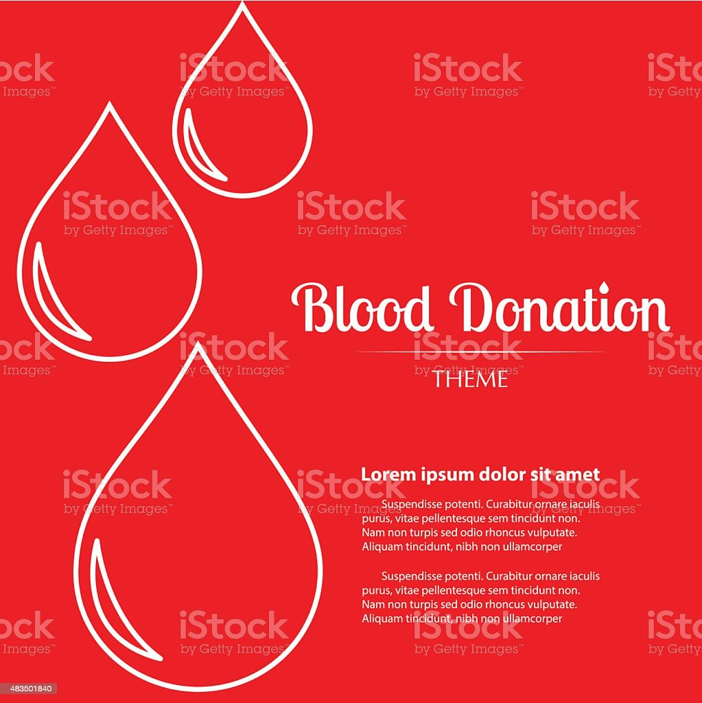 Lineal Icon - Blood Donation Copy Space vector art illustration