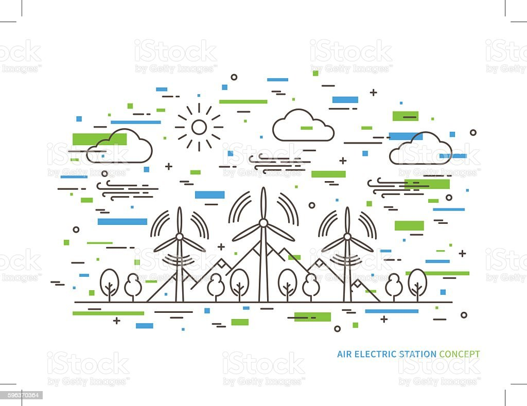 Linear air electric station vector illustration vector art illustration