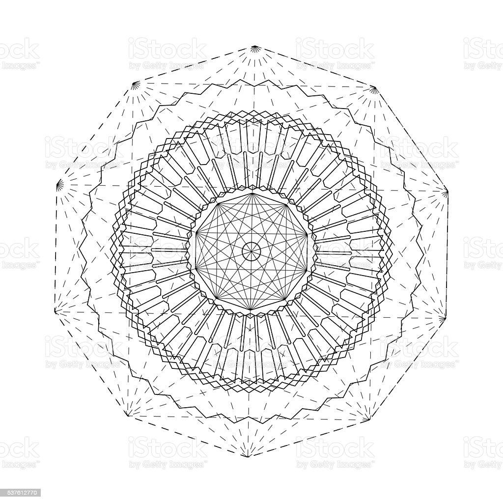 Linear alchemy, occult, philosophical sign. vector art illustration