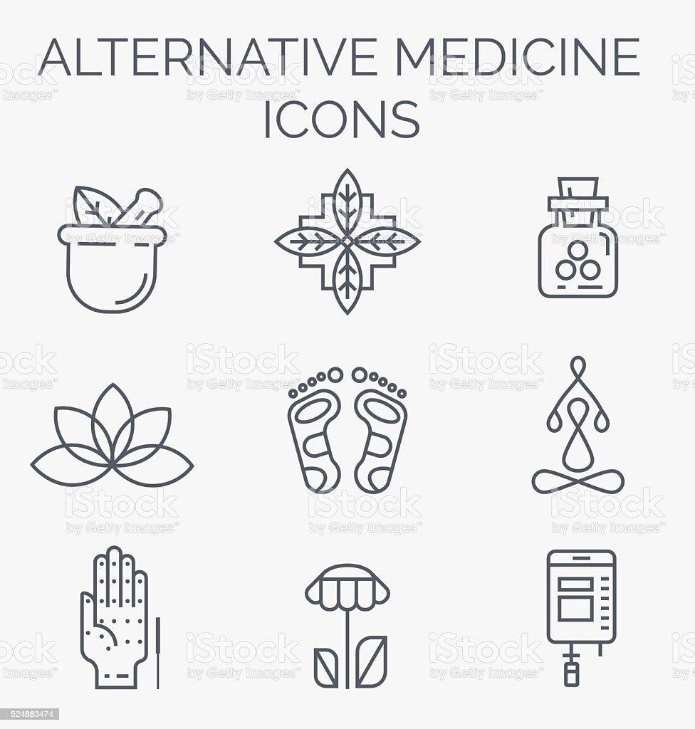 Linear Alternative Medicine icons. vector art illustration