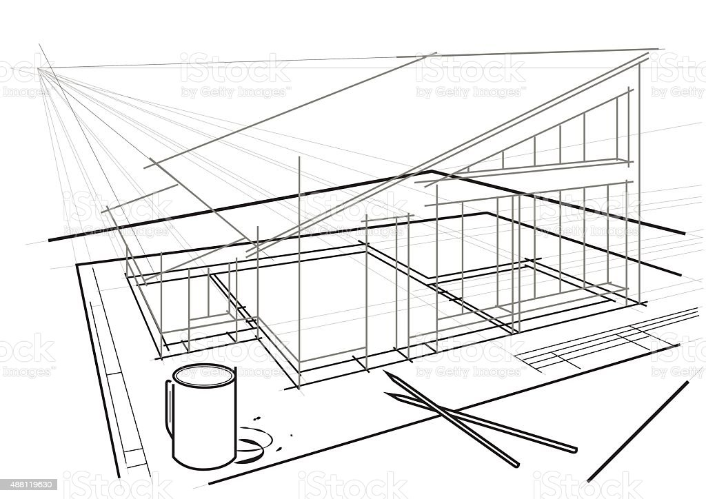 Linear architectural drawing on table with pencils and coffee cup vector art illustration