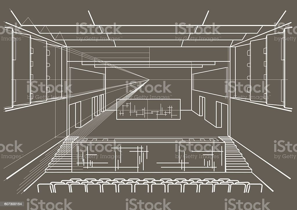 Linear architectural sketch concert hall on gray background vector art illustration