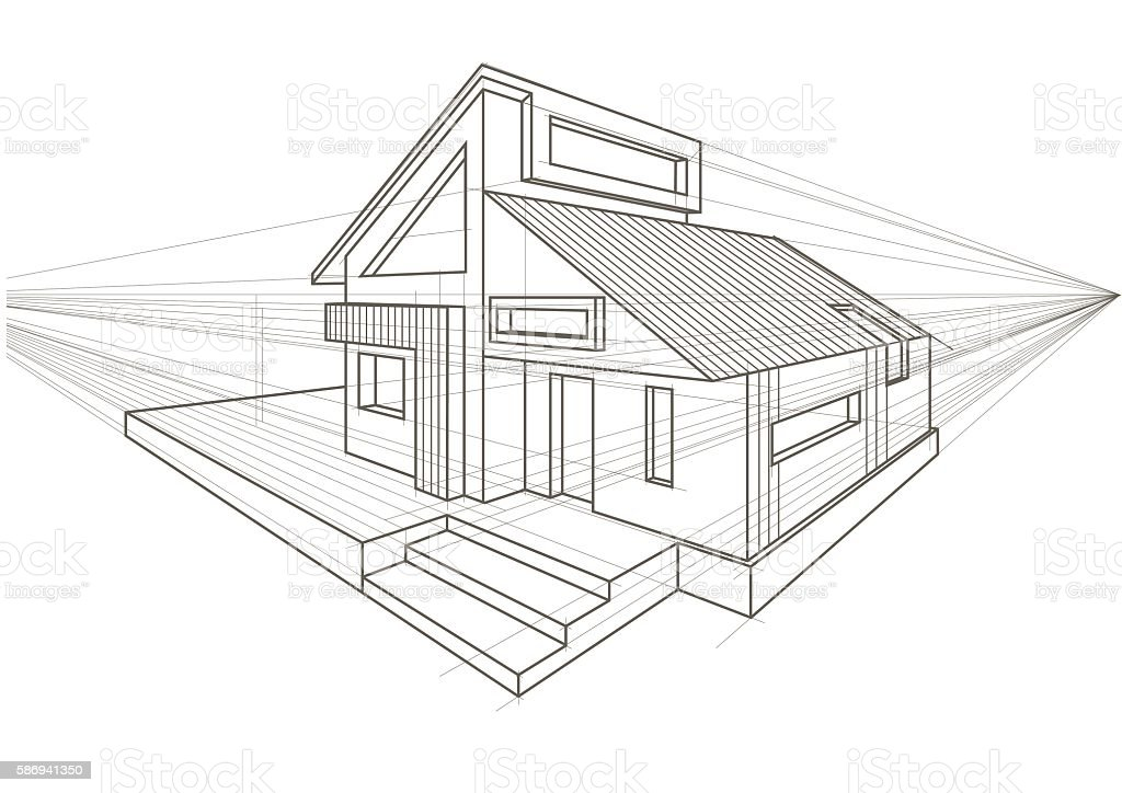 Linear architectural sketch detached house vector art illustration