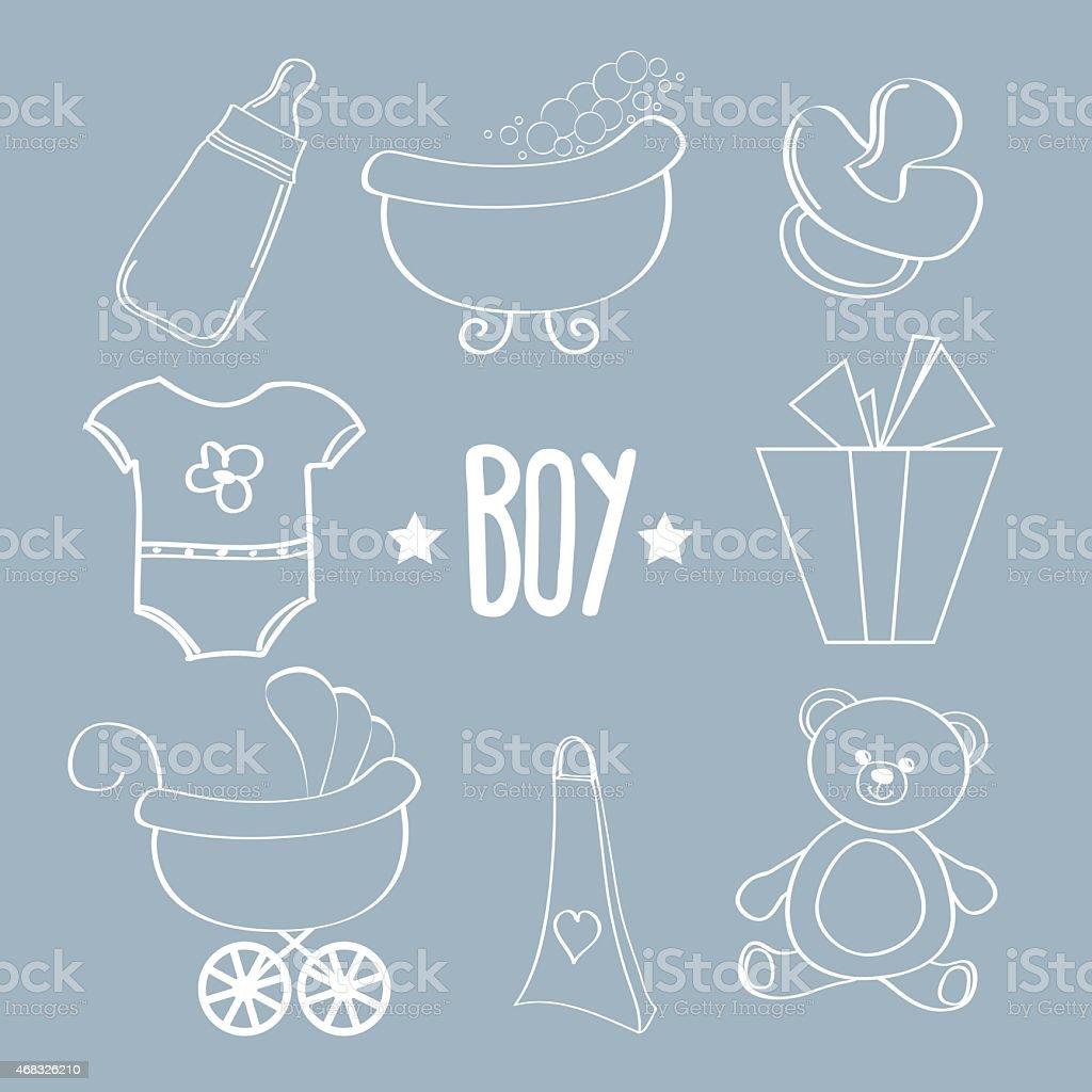 Linear baby boy items set vector art illustration