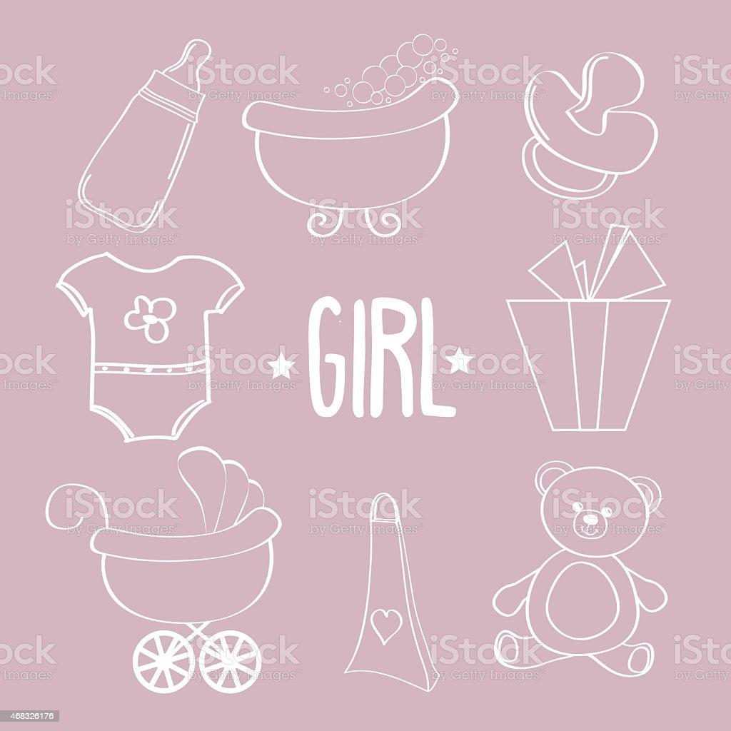 Linear baby girl items set vector art illustration