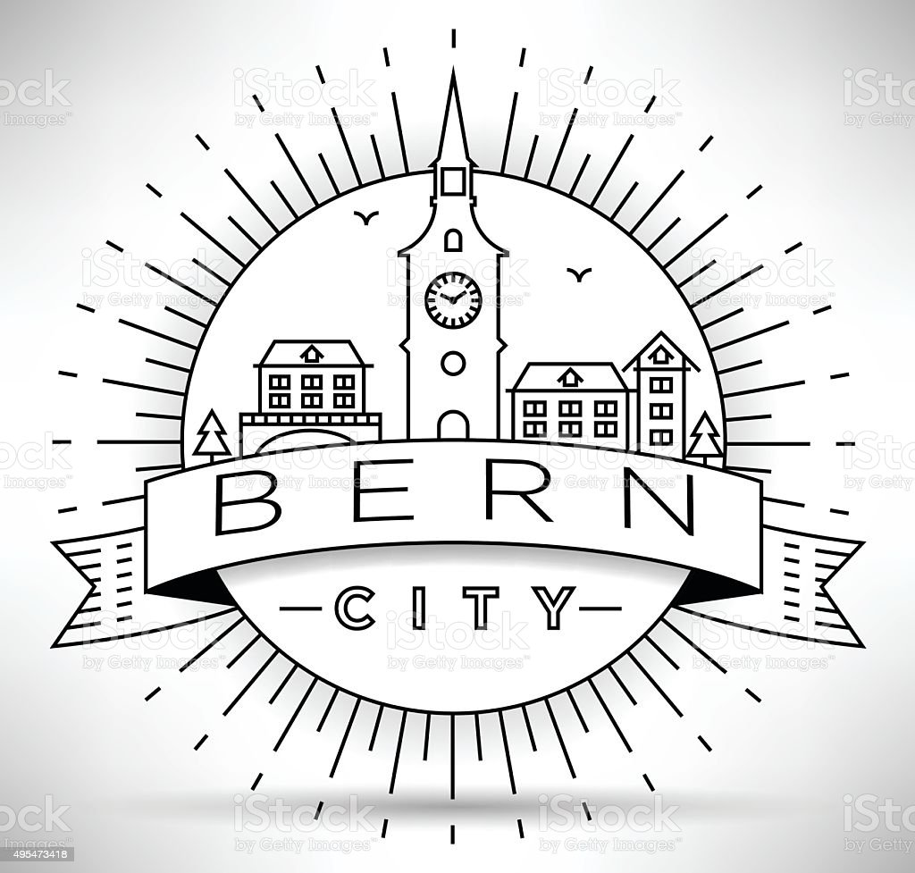 Linear Bern City Silhouette with Typographic Design vector art illustration