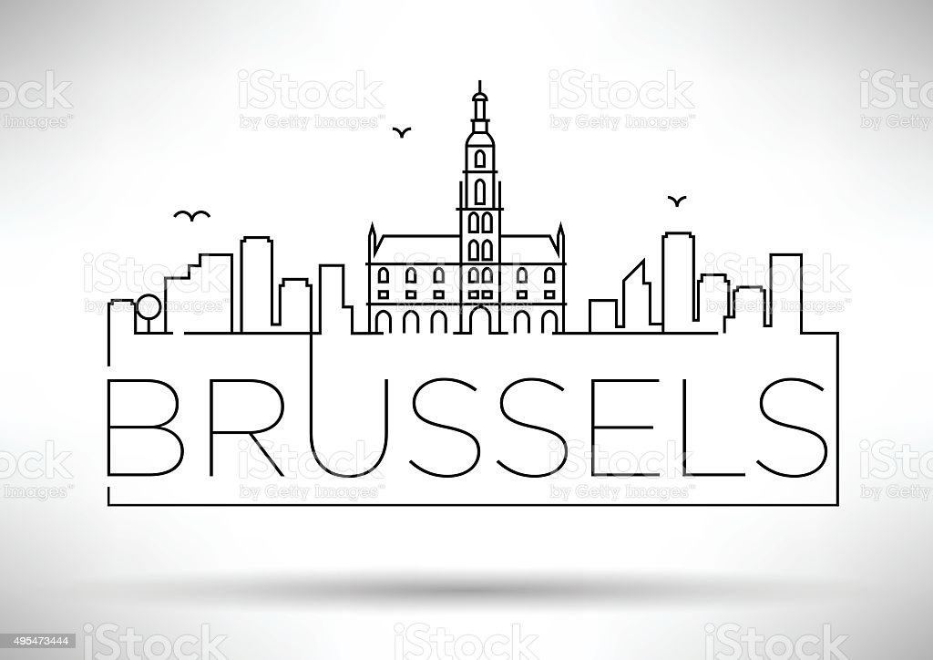 Linear Brussels City Silhouette with Typographic Design vector art illustration