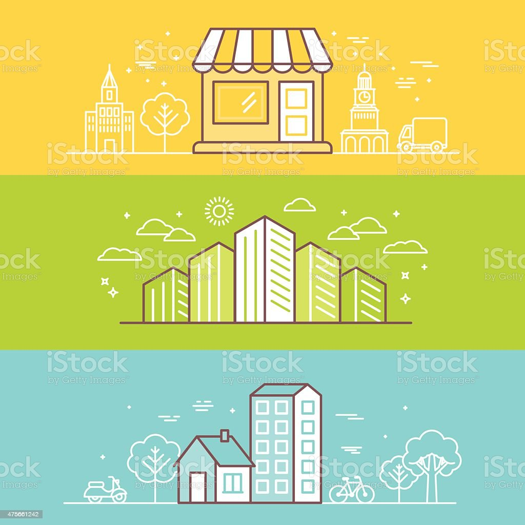 Linear Buildings Icons vector art illustration